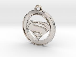 Clasic Superman Circle-pendant in Platinum