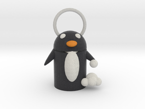 Snow Fight Penguin  Pendant  in Full Color Sandstone
