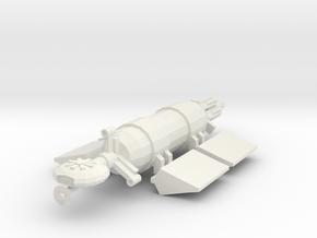 "1/1000 Scale Civilian ""Whale"" Freighter V2 in White Natural Versatile Plastic"