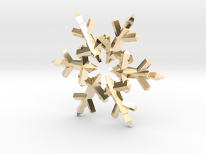 Snow Flake 6 Points C - 5cm in 14K Yellow Gold