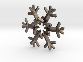 Snow Flake 6 Points D - 5cm in Polished Bronzed Silver Steel