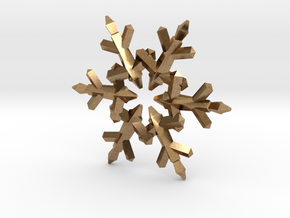 Snow Flake 6 Points C - 5cm in Natural Brass