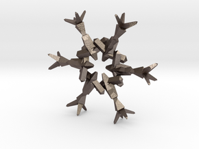 Snow Flake 6 Points B - 4.6cm in Polished Bronzed Silver Steel