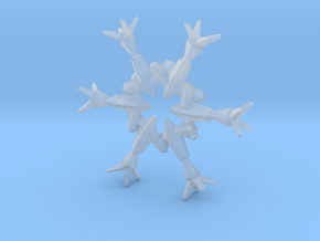 Snow Flake 6 Points B - 4.6cm in Smooth Fine Detail Plastic