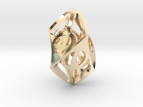Twisty Spindle d6 in 14K Yellow Gold