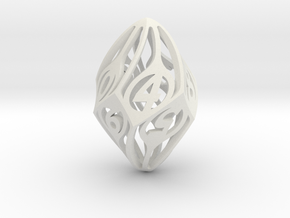 Twisty Spindle d10 in White Natural Versatile Plastic