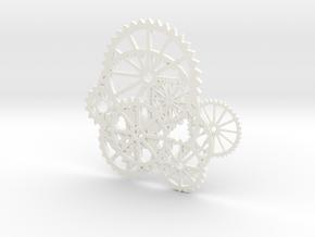 Gear Necklace 0001 in White Processed Versatile Plastic