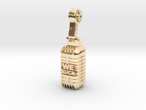 We Suck Vintage Microphone in 14K Yellow Gold