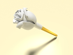 Rose (Pen Cap) in White Processed Versatile Plastic