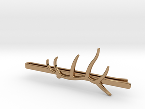 Elk Antler Tie Clip in Polished Brass