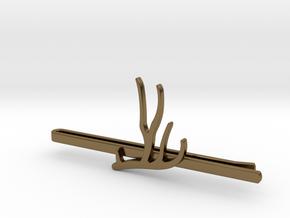 Mule Deer Antler Tie Clip in Polished Bronze