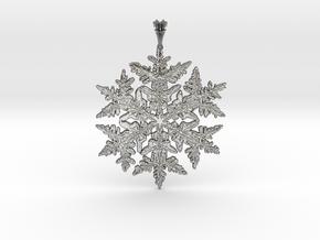 Wilson Bentley Snowflake Crystal Pendant in Polished Silver