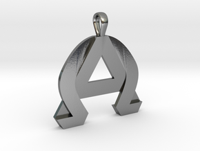AlphaOmega Pendant in Polished Silver