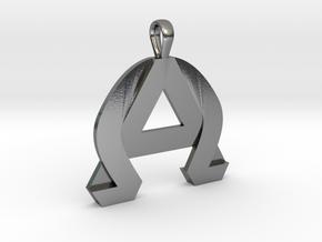 AlphaOmega Pendant in Polished Silver