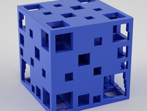 Fractal Cube 30mm in Blue Processed Versatile Plastic