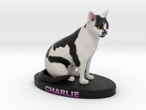 Custom Cat Figurine - Charlie in Full Color Sandstone