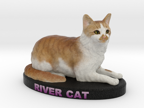 Custom Cat Figurine - River Cat in Full Color Sandstone