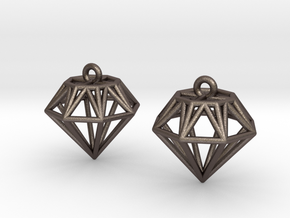 Diamond Earrings in Polished Bronzed Silver Steel