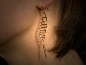 DNA Leaf Earrings in Raw Bronze