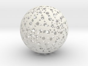 HexPent Sphere in White Natural Versatile Plastic