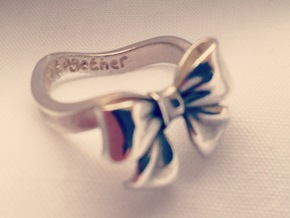 Bow Ring - Friendship ring - Tied together - Size  in Polished Silver
