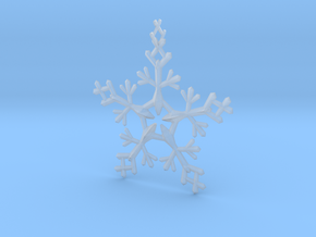 Snow Flake 5 Points - w Loopet - 7cm in Smooth Fine Detail Plastic