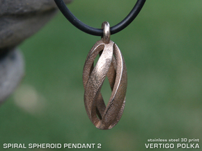 Spiral Spheroid Pendant 2 in Polished Bronzed Silver Steel