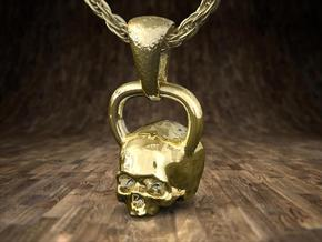 Kettlebell Skull Pendant .75 Scale With Bail in 14K Yellow Gold