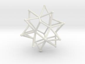Stellated Icosohedron WireBalls - 3cm in White Natural Versatile Plastic