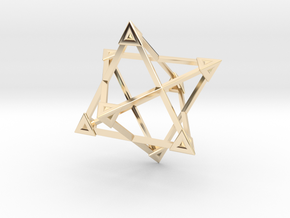 Merkaba Wire Pyramids Only 1 Caps 5cm in 14K Yellow Gold