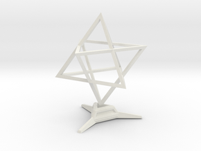 Merkaba Sharp - w Base - 4cm in White Natural Versatile Plastic