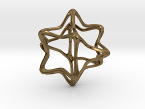 Cube Octahedron Curvy Pinch - 5cm in Natural Bronze