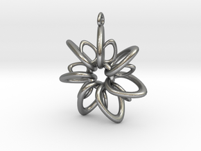 RingStar 7 Points - 4cm, Loopet in Natural Silver