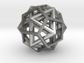 IcosoDodecahedron Thick - 3.5cm in Natural Silver