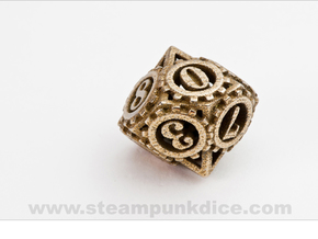 Steampunk Gear d10 in Polished Bronzed Silver Steel