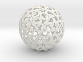 Star Weave Sphere in White Natural Versatile Plastic