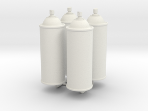 1/6 Scale Spray Cans X4 in White Strong & Flexible