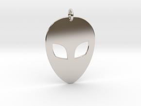 Alien Head Pendant, 1mm Thick. in Platinum