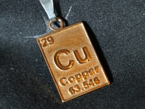 Copper Periodic Table Pendant in Polished Bronze