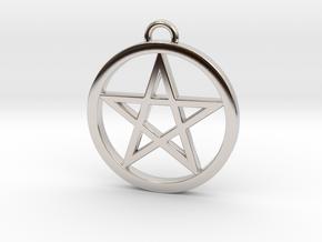 Pentacle Pendant / Keychain 3cm in Platinum