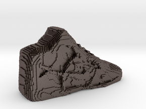 Pixelated Basketball Shoe by Suprint in Polished Bronzed Silver Steel