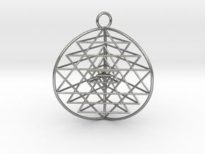 3D Sri Yantra version 3 in Raw Silver