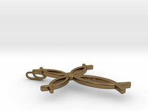 Jesus Fish (Ichthus) Cross Pendant in Natural Bronze