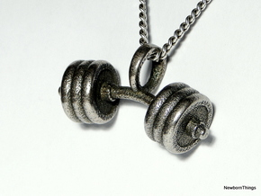 Pendant V8 - Dumbbell bent in Polished Bronzed Silver Steel
