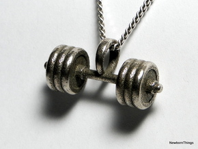 Pendant V8 - Dumbbell in Polished Bronzed Silver Steel