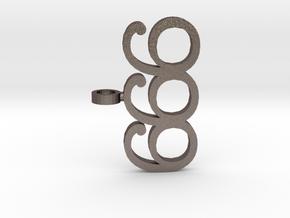 Devil 666 Pendant in Polished Bronzed Silver Steel