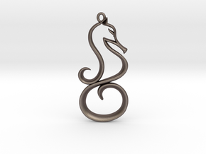 The Seahorse Pendant in Polished Bronzed Silver Steel