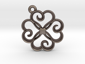 Tiny Clover Charm in Polished Bronzed Silver Steel
