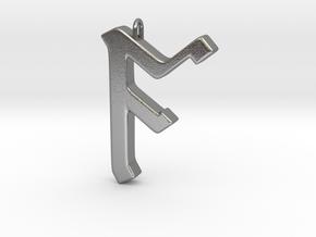 Rune Pendant - Āc in Natural Silver