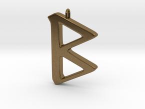 Rune Pendant - Beorc in Natural Bronze